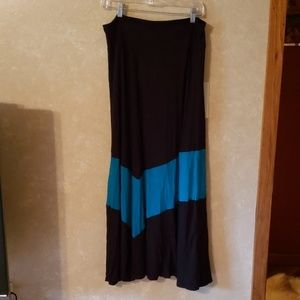 Black and teal maxi skirt